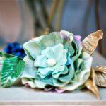 cinturón armonia combinado en tela y porcelana